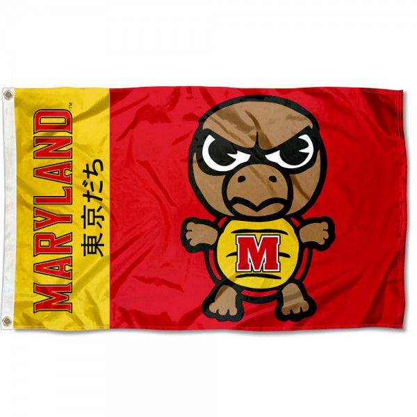 Maryland Terps Kawaii Tokyo Dachi Yuru Kyara Flag measures 3x5 feet, is made of 100% polyester, offers quadruple stitched flyends, has two metal grommets, and offers screen printed NCAA team logos and insignias. Our Maryland Terps Kawaii Tokyo Dachi Yuru Kyara Flag is officially licensed by the selected university and NCAA.