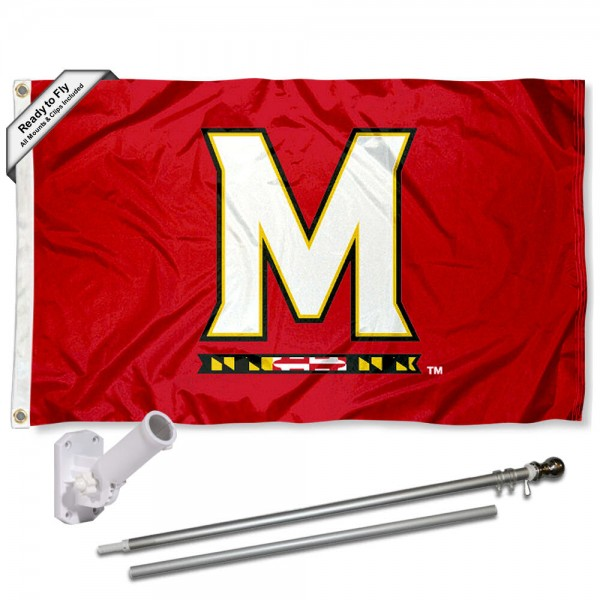 Our Maryland Terps M Logo Flag Pole and Bracket Kit includes the flag as shown and the recommended flagpole and flag bracket. The flag is made of polyester, has quad-stitched flyends, and the NCAA Licensed team logos are double sided screen printed. The flagpole and bracket are made of rust proof aluminum and includes all hardware so this kit is ready to install and fly.