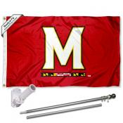 Maryland Terps M Logo Flag Pole and Bracket Kit