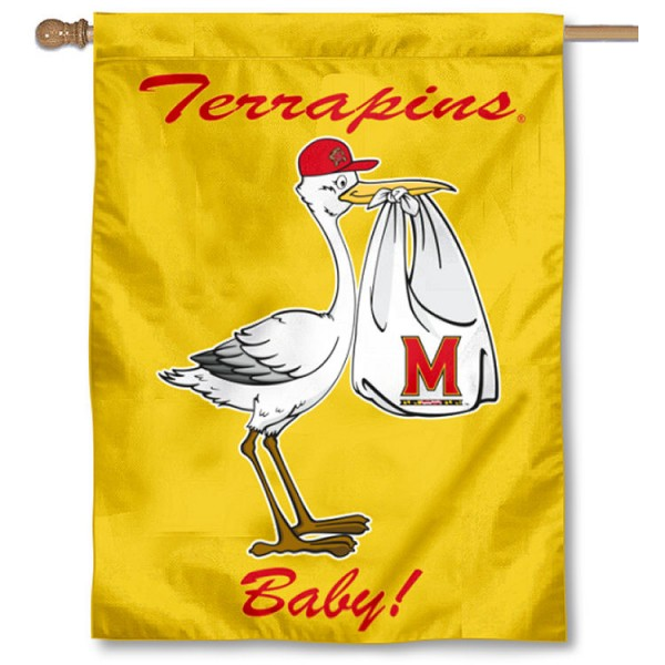 Maryland Terps New Baby Flag measures 30x40 inches, is made of poly, has a top hanging sleeve, and offers dye sublimated Maryland Terps logos. This Decorative Maryland Terps New Baby House Flag is officially licensed by the NCAA.