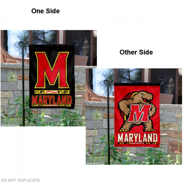 Maryland Terps Two Logo Garden Flag is 13x18 inches in size, is made of 2-layer polyester, screen printed university athletic logos and lettering, and is readable and viewable correctly on both sides. Available same day shipping, our Maryland Terps Two Logo Garden Flag is officially licensed and approved by the university and the NCAA.
