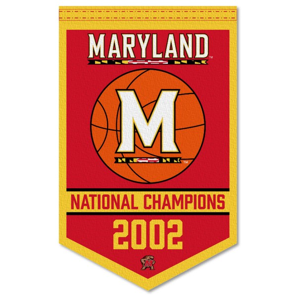 Maryland Terrapins Basketball National Champions Banner consists of our sports dynasty year banner which measures 15x24 inches, is constructed of rigid felt, is single sided imprinted, and offers a pennant sleeve for insertion of a pennant stick, if desired. This sports banner is a unique collectible and keepsake of the legacy game and is Officially Licensed and University, School, and College Approved.