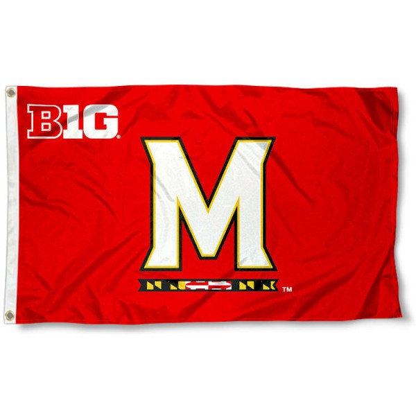 Maryland Terrapins Big Ten Flag measures 3'x5', is made of 100% poly, has quadruple stitched sewing, two metal grommets, and has double sided Team University logos. Our Maryland Terrapins Big Ten Flag is officially licensed by the selected university and the NCAA.