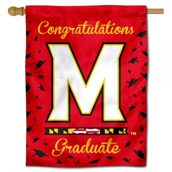 Maryland Terrapins Congratulations Graduate Flag measures 30x40 inches, is made of poly, has a top hanging sleeve, and offers dye sublimated Maryland Terrapins logos. This Decorative Maryland Terrapins Congratulations Graduate House Flag is officially licensed by the NCAA.