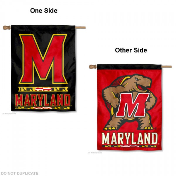 Maryland Terrapins Double Sided House Flag is a vertical house flag which measures 30x40 inches, is made of 2 ply 100% polyester, offers screen printed NCAA team insignias, and has a top pole sleeve to hang vertically. Our Maryland Terrapins Double Sided House Flag is officially licensed by the selected university and the NCAA.