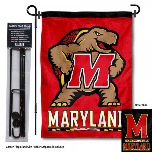 "Maryland Terrapins Dual Logo Garden Flag and Pole Stand kit includes our 13""x18"" garden banner which is made of 2 ply poly with liner and has screen printed licensed logos. Also, a 40""x17"" inch garden flag stand is included so your Maryland Terrapins Dual Logo Garden Flag and Pole Stand is ready to be displayed with no tools needed for setup. Fast Overnight Shipping is offered and the flag is Officially Licensed and Approved by the selected team."