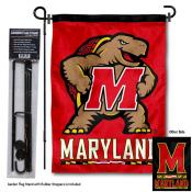 Maryland Terrapins Dual Logo Garden Flag and Pole Stand