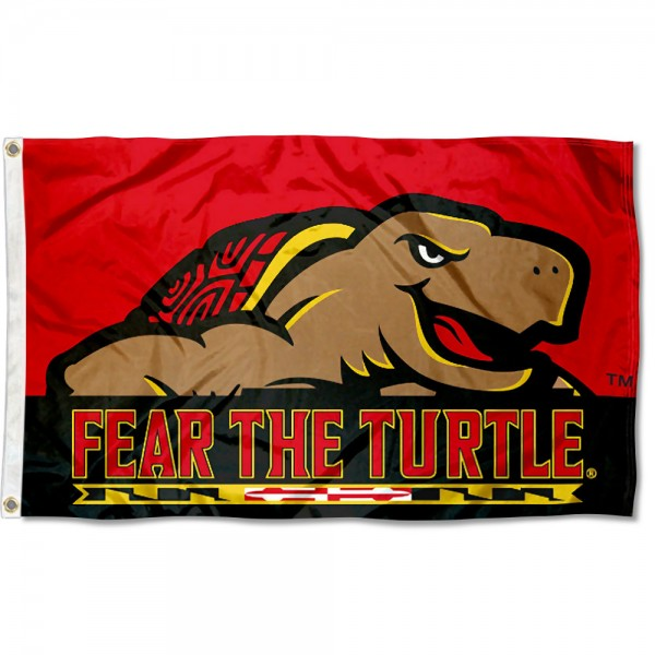 Maryland Terrapins Fear the Turtle Flag measures 3x5 feet, is made of 100% polyester, offers quadruple stitched flyends, has two metal grommets, and offers screen printed NCAA team logos and insignias. Our Maryland Terrapins Fear the Turtle Flag is officially licensed by the selected university and NCAA.