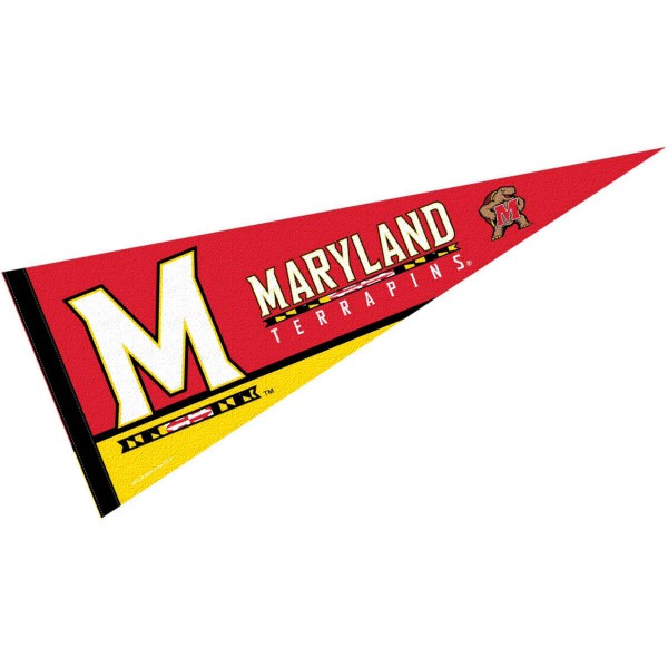 Maryland Terrapins Felt Pennant consists of our full size sports pennant which measures 12x30 inches, is constructed of felt, is single sided imprinted, and offers a pennant sleeve for insertion of a pennant stick, if desired. This UM Terps Felt Pennant is officially licensed by the selected university and the NCAA.