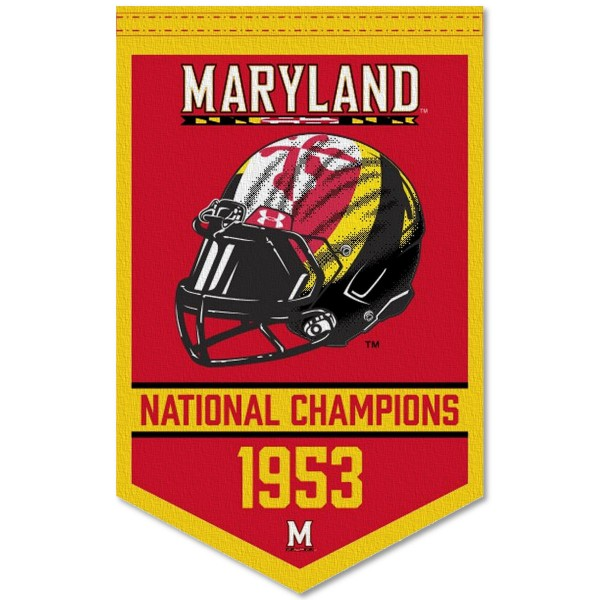 Maryland Terrapins Football National Champions Banner consists of our sports dynasty year banner which measures 15x24 inches, is constructed of rigid felt, is single sided imprinted, and offers a pennant sleeve for insertion of a pennant stick, if desired. This sports banner is a unique collectible and keepsake of the legacy game and is Officially Licensed and University, School, and College Approved.