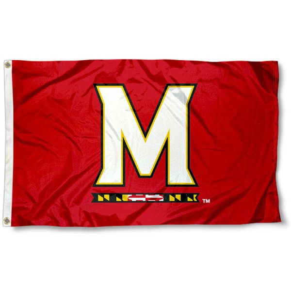 Maryland Terrapins M Flag measures 3'x5', is made of 100% poly, has quadruple stitched sewing, two metal grommets, and has double sided Team University logos. Our U of Maryland 3x5 Flag is officially licensed by the selected university and the NCAA.