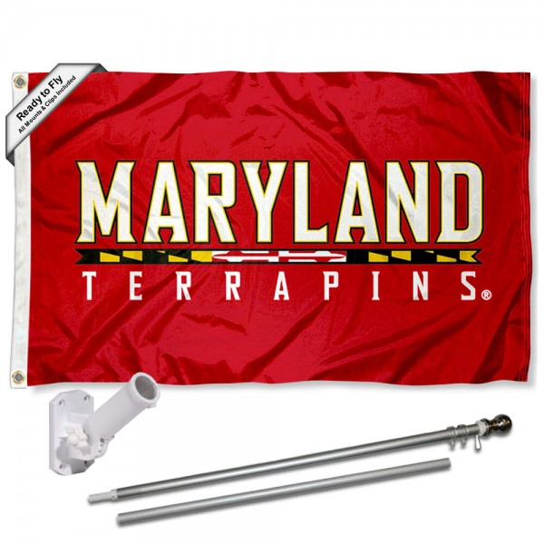 Our Maryland Terrapins Script Flag Pole and Bracket Kit includes the flag as shown and the recommended flagpole and flag bracket. The flag is made of polyester, has quad-stitched flyends, and the NCAA Licensed team logos are double sided screen printed. The flagpole and bracket are made of rust proof aluminum and includes all hardware so this kit is ready to install and fly.