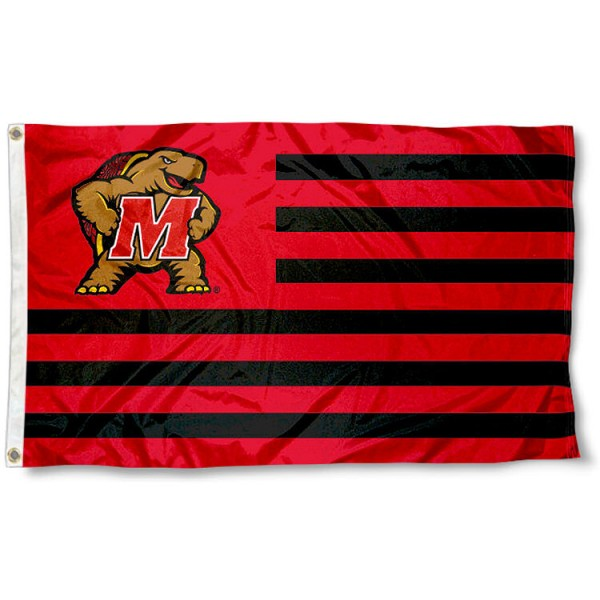 Maryland Terrapins Striped Flag measures 3'x5', is made of polyester, offers quadruple stitched flyends for durability, has two metal grommets, and is viewable from both sides with a reverse image on the opposite side. Our Maryland Terrapins Striped Flag is officially licensed by the selected school university and the NCAA