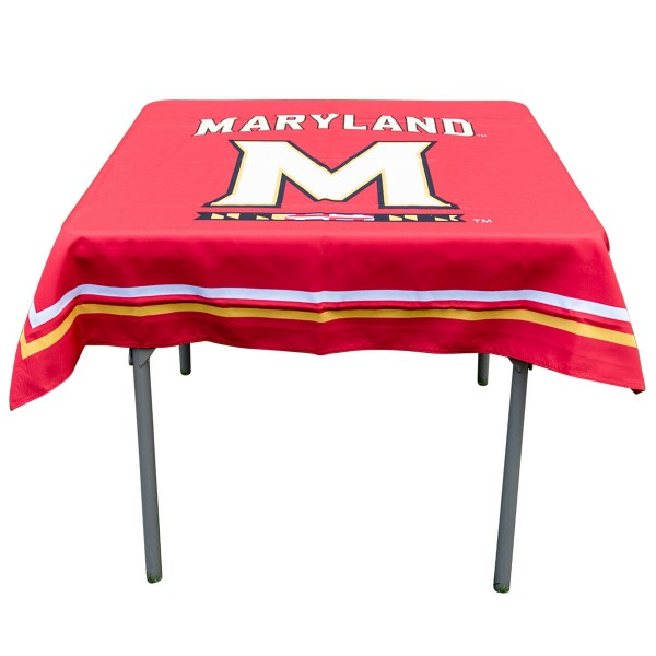 Maryland Terrapins Table Cloth measures 48 x 48 inches, is made of 100% Polyester, seamless one-piece construction, and is perfect for any tailgating table, card table, or wedding table overlay. Each includes Officially Licensed Logos and Insignias.