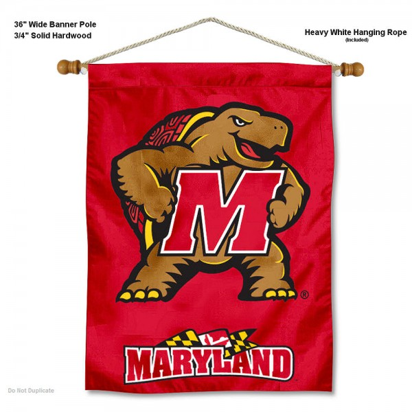 "Maryland Terrapins Wall Banner is constructed of polyester material, measures a large 30""x40"", offers screen printed athletic logos, and includes a sturdy 3/4"" diameter and 36"" wide banner pole and hanging cord. Our Maryland Terrapins Wall Banner is Officially Licensed by the selected college and NCAA."