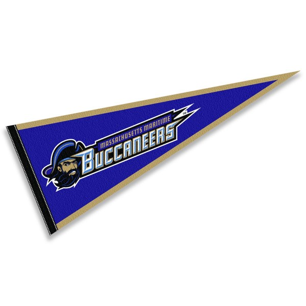 Mass Maritime Academy Buccaneers Pennant consists of our full size sports pennant which measures 12x30 inches, is constructed of felt, is single sided imprinted, and offers a pennant sleeve for insertion of a pennant stick, if desired. This Mass Maritime Academy Buccaneers Pennant Decorations is Officially Licensed by the selected university and the NCAA.