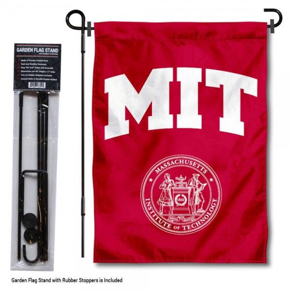 "Massachusetts Institute of Technology Garden Flag and Stand kit includes our 13""x18"" garden banner which is made of 2 ply poly with liner and has screen printed licensed logos. Also, a 40""x17"" inch garden flag stand is included so your Massachusetts Institute of Technology Garden Flag and Stand is ready to be displayed with no tools needed for setup. Fast Overnight Shipping is offered and the flag is Officially Licensed and Approved by the selected team."
