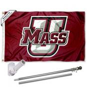 Massachusetts Minutemen Umass Logo Flag Pole and Bracket Kit