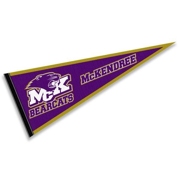 McKendree Bearcats Pennant consists of our full size sports pennant which measures 12x30 inches, is constructed of felt, is single sided imprinted, and offers a pennant sleeve for insertion of a pennant stick, if desired. This McKendree Bearcats Pennant Decorations is Officially Licensed by the selected university and the NCAA.