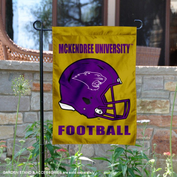 McKendree University Football Helmet Garden Banner is 13x18 inches in size, is made of 2-layer polyester, screen printed McKendree University athletic logos and lettering. Available with Same Day Express Shipping, Our McKendree University Football Helmet Garden Banner is officially licensed and approved by McKendree University and the NCAA.