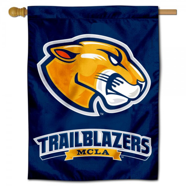 MCLA Trailblazers Double Sided House Flag is a vertical house flag which measures 30x40 inches, is made of 2 ply 100% polyester, offers screen printed NCAA team insignias, and has a top pole sleeve to hang vertically. Our MCLA Trailblazers Double Sided House Flag is officially licensed by the selected university and the NCAA.