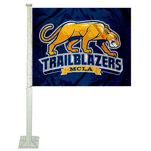 MCLA Trailblazers Logo Car Flag measures 12x15 inches, is constructed of sturdy 2 ply polyester, and has screen printed school logos which are readable and viewable correctly on both sides. MCLA Trailblazers Logo Car Flag is officially licensed by the NCAA and selected university.