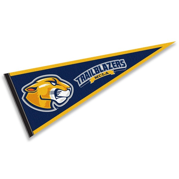 MCLA Trailblazers Pennant consists of our full size sports pennant which measures 12x30 inches, is constructed of felt, is single sided imprinted, and offers a pennant sleeve for insertion of a pennant stick, if desired. This MCLA Trailblazers Pennant Decorations is Officially Licensed by the selected university and the NCAA.