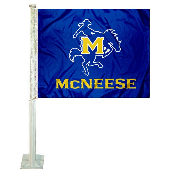 McNeese State Cowboys Car Flag measures 12x15 inches, is constructed of sturdy 2 ply polyester, and has screen printed school logos which are readable and viewable correctly on both sides. McNeese State Cowboys Car Flag is officially licensed by the NCAA and selected university.