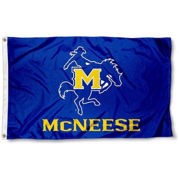 McNeese State Cowboys Flag measures 3'x5', is made of 100% poly, has quadruple stitched sewing, two metal grommets, and has double sided Team University logos. Our McNeese State Cowboys White is officially licensed by the selected university and the NCAA.