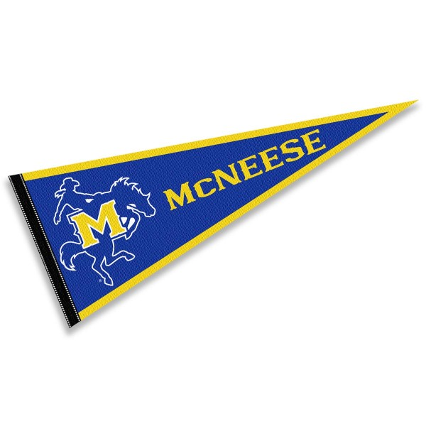 McNeese State Cowboys Pennant consists of our full size sports pennant which measures 12x30 inches, is constructed of felt, is single sided imprinted, and offers a pennant sleeve for insertion of a pennant stick, if desired. This McNeese State Cowboys Pennant Decorations is Officially Licensed by the selected university and the NCAA.