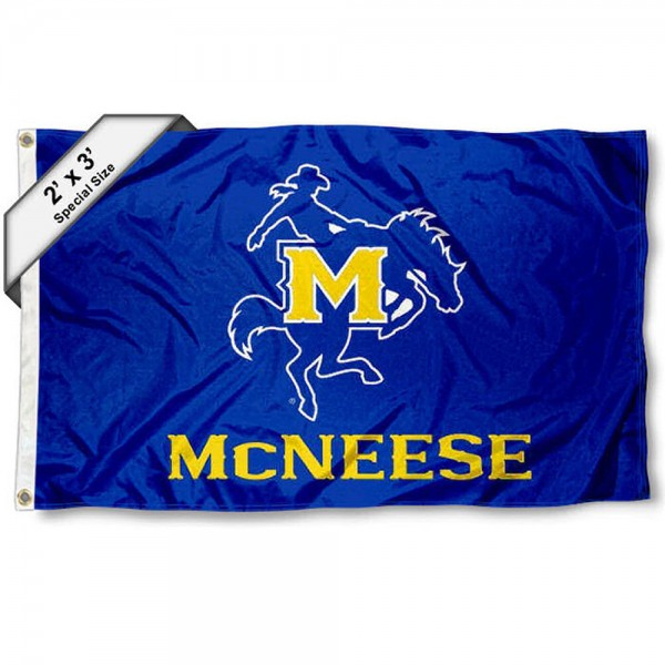 McNeese State Cowboys Small 2'x3' Flag measures 2x3 feet, is made of 100% polyester, offers quadruple stitched flyends, has two brass grommets, and offers printed McNeese State Cowboys logos, letters, and insignias. Our 2x3 foot flag is Officially Licensed by the selected university.