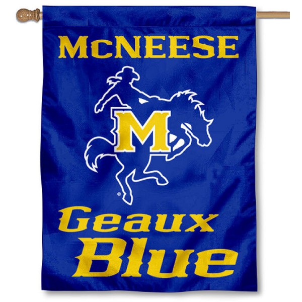 McNeese State University Banner Flag is a vertical house flag which measures 30x40 inches, is made of 2 ply 100% polyester, offers screen printed NCAA team insignias, and has a top pole sleeve to hang vertically. Our McNeese State University Banner Flag is officially licensed by the selected university and the NCAA.