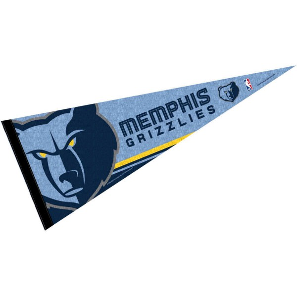 This Memphis Grizzlies Pennant measures 12x30 inches, is constructed of felt, and is single sided screen printed with the Memphis Grizzlies logo and insignia. Each Memphis Grizzlies Pennant is a NBA Officially Licensed product.