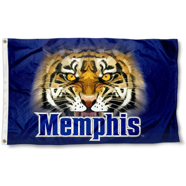 Memphis Tiger Eye Flag measures 3'x5', is made of 100% poly, has quadruple stitched sewing, two metal grommets, and has double sided Team University logos. Our Memphis Tigers 3x5 Flag is officially licensed by the selected university and the NCAA.