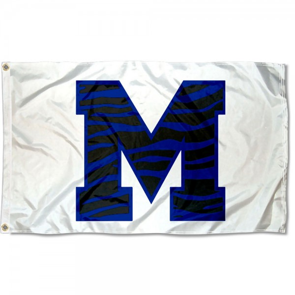 Memphis Tigers Block M Striped Flag measures 3x5 feet, is made of 100% polyester, offers quadruple stitched flyends, has two metal grommets, and offers screen printed NCAA team logos and insignias. Our Memphis Tigers Block M Striped Flag is officially licensed by the selected university and NCAA.