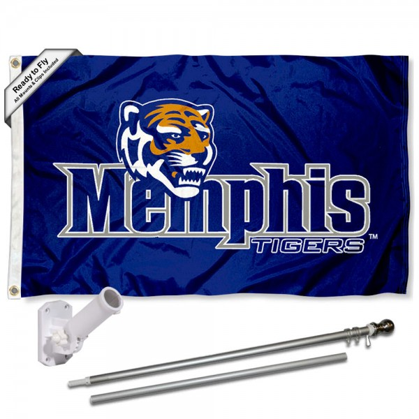 Our Memphis Tigers Flag Pole and Bracket Kit includes the flag as shown and the recommended flagpole and flag bracket. The flag is made of polyester, has quad-stitched flyends, and the NCAA Licensed team logos are double sided screen printed. The flagpole and bracket are made of rust proof aluminum and includes all hardware so this kit is ready to install and fly.