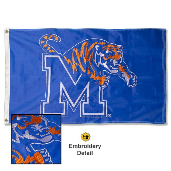 Memphis Tigers Nylon Embroidered Flag measures 3'x5', is made of 100% nylon, has quadruple flyends, two metal grommets, and has double sided appliqued and embroidered University logos. These Memphis Tigers 3x5 Flags are officially licensed by the selected university and the NCAA.