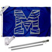 Memphis Tigers Striped M Logo Flag Pole and Bracket Kit