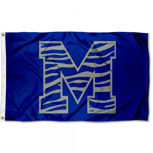 Memphis Tigers Tiger Striped Flag measures 3x5 feet, is made of 100% polyester, offers quadruple stitched flyends, has two metal grommets, and offers screen printed NCAA team logos and insignias. Our Memphis Tigers Tiger Striped Flag is officially licensed by the selected university and NCAA.