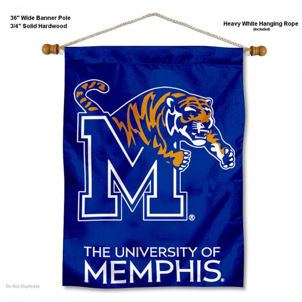 "Memphis Tigers Wall Banner is constructed of polyester material, measures a large 30""x40"", offers screen printed athletic logos, and includes a sturdy 3/4"" diameter and 36"" wide banner pole and hanging cord. Our Memphis Tigers Wall Banner is Officially Licensed by the selected college and NCAA."