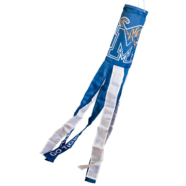 """Memphis Tigers Windsock measures 40"""" in length by 5"""" in width, is made of 100% polyester, offers screen printed NCAA team logos, team names and insignias, has 6 alternative colored streamers and tails, includes a double stringed bridle and hanging swivel clip, and our Memphis Tigers Windsock is authentic, licensed, and approved by the selected university or team."""