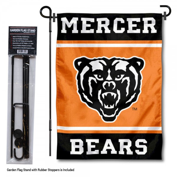 "Mercer Bears Garden Flag and Pole Stand Holder kit includes our 13""x18"" garden banner which is made of 2 ply poly with liner and has screen printed licensed logos. Also, a 40""x17"" inch garden flag stand is included so your Mercer Bears Garden Flag and Pole Stand Holder is ready to be displayed with no tools needed for setup. Fast Overnight Shipping is offered and the flag is Officially Licensed and Approved by the selected team."