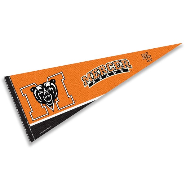 Mercer University Pennant consists of our full size sports pennant which measures 12x30 inches, is constructed of felt, is single sided imprinted, and offers a pennant sleeve for insertion of a pennant stick, if desired. This Mercer University Felt Pennant is officially licensed by the selected university and the NCAA.