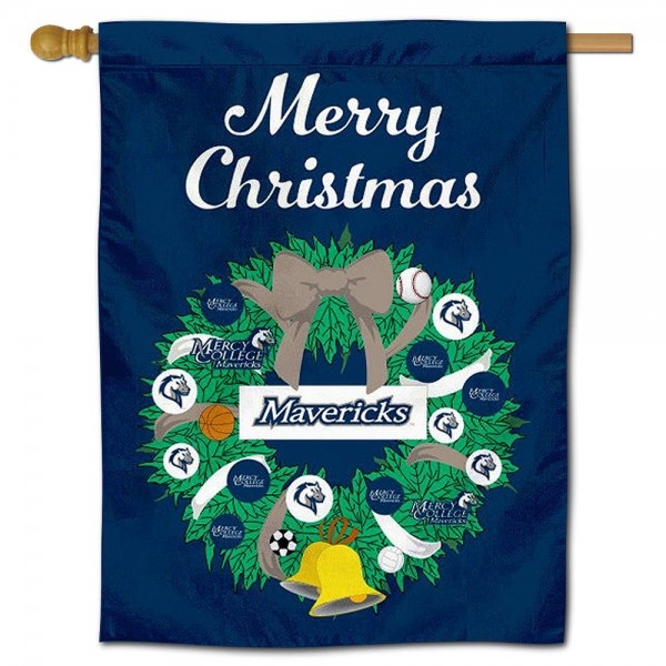 Mercy College Happy Holidays Banner Flag measures 30x40 inches, is made of poly, has a top hanging sleeve, and offers dye sublimated Mercy College logos. This Decorative Mercy College Happy Holidays Banner Flag is officially licensed by the NCAA.