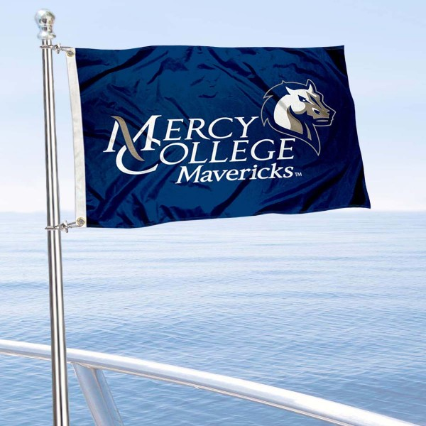 Mercy College Mavericks Boat and Mini Flag is 12x18 inches, polyester, offers quadruple stitched flyends for durability, has two metal grommets, and is double sided. Our mini flags for Mercy College are licensed by the university and NCAA and can be used as a boat flag, motorcycle flag, golf cart flag, or ATV flag.