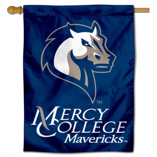 Mercy College Mavericks Double Sided House Flag is a vertical house flag which measures 30x40 inches, is made of 2 ply 100% polyester, offers screen printed NCAA team insignias, and has a top pole sleeve to hang vertically. Our Mercy College Mavericks Double Sided House Flag is officially licensed by the selected university and the NCAA.