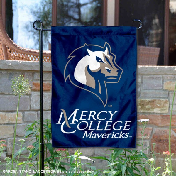 Mercy College Mavericks Garden Flag is 13x18 inches in size, is made of 2-layer polyester, screen printed university athletic logos and lettering, and is readable and viewable correctly on both sides. Available same day shipping, our Mercy College Mavericks Garden Flag is officially licensed and approved by the university and the NCAA.