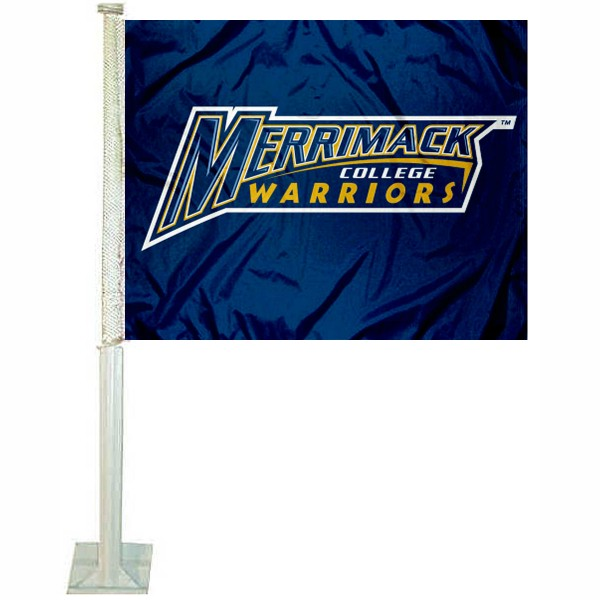 Merrimack MC Warriors Car Flag measures 12x15 inches, is constructed of sturdy 2 ply polyester, and has screen printed school logos which are readable and viewable correctly on both sides. Merrimack MC Warriors Car Flag is officially licensed by the NCAA and selected university.