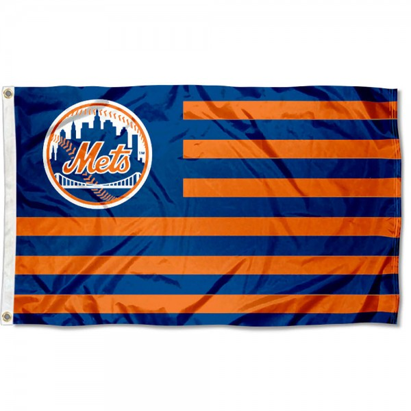 Mets Nation Flag measures 3x5 feet, is made of polyester, offers quad-stitched flyends, has two metal grommets, and is viewable from both sides with a reverse image on the opposite side. Our Mets Nation Flag is Genuine MLB Merchandise.