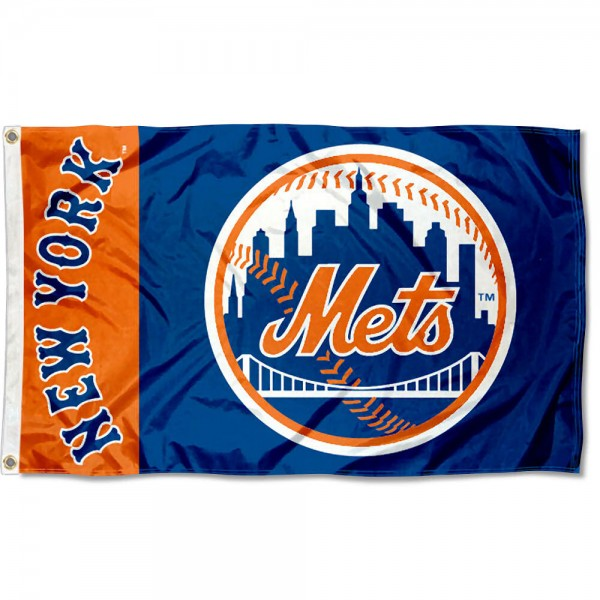 The Mets Outdoor Flag is four-stitched bordered, double sided, made of poly, 3'x5', and has two grommets. These New York Mets Outdoor Flags are MLB Genuine Merchandise.